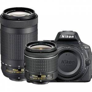 Nikon D5600 Two Lens Kit with 18-55mm VR and 70-300mm ED Black, 24.2MP,5fps, ISO to 25,600, HD