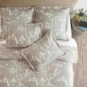 Ballard Designs Vera Chinois Floral Duvet Cover Gray Twin - Ballard Designs
