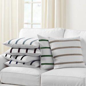"""Ballard Designs """"Velvet Striped Linen Pillow Cover - Select Colors Natural/Persimmon 12"""""""" x 20"""""""" - Ballard Designs"""""""