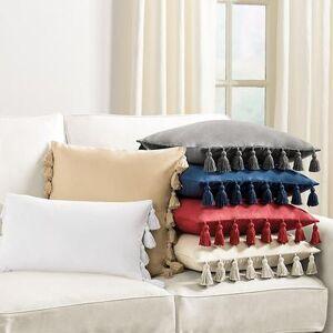 "Ballard Designs ""Tassel Trim Twill Pillow Cover Twill Super White 20"""" x 20"""" - Ballard Designs"""