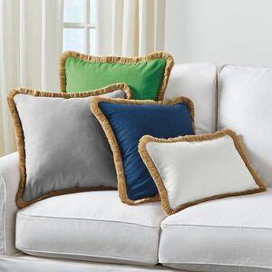 """Ballard Designs """"Linen Fringed Pillow Cover White 12"""""""" x 20"""""""" - Ballard Designs"""""""