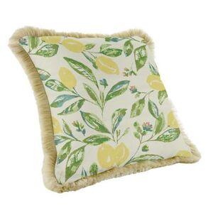 Ballard Designs Outdoor Fringed Pillow - Select Colors Windowpane Granite - Ballard Designs