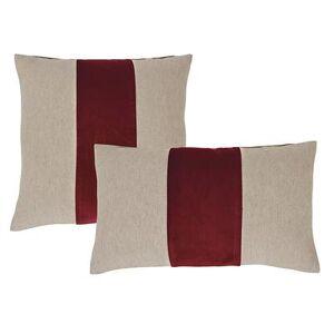 "Ballard Designs ""Velvet Colorblock Linen Pillow Cover - Select Colors Natural/Persimmon 20"""" x 20"""" - Ballard Designs"""