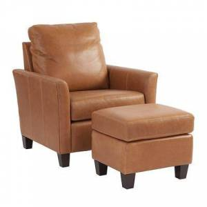 Ballard Designs Layla Leather Chair & Ottoman Latte - Ballard Designs