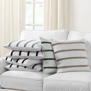 """Ballard Designs """"Velvet Striped Linen Pillow Cover - Select Colors Natural/Emerald 20"""""""" x 20"""""""" - Ballard Designs"""""""