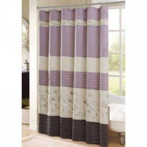 Madison Park Purple Serene Faux Silk Embroidered Floral Shower Curtain