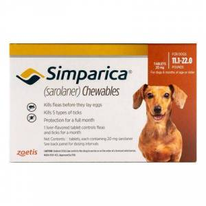 Simparica For Dogs 11.1-22 Lbs (Brown) 3 Pack