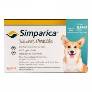 Simparica For Dogs 22.1-44 Lbs (Blue) 6 Pack