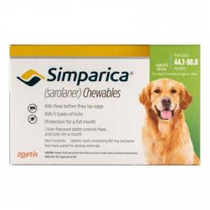 Simparica For Dogs 44.1-88 Lbs (Green) 3 Pack