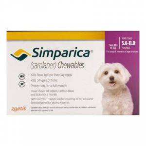 Simparica For Dogs 5.6-11 Lbs (Purple) 3 Pack