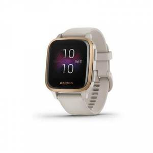 Garmin Venu SQ GPS Smartwatch - Music Edition Rose Gold Aluminum Bezel With Light Sand Case and Silicone