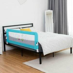"Costway ""69"""" Breathable Baby Toddlers Bed Rail Guard Safety Swing Down-Blue"""