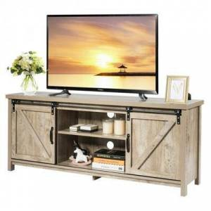 Costway TV Stand with Cabinet Sliding Barn Door -White