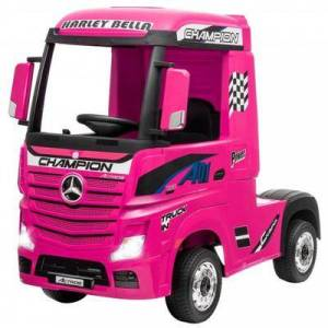 Costway 12 V Mercedes Benz Actros Electric Kids Ride on Truck with Remote Control and MP3-Pink