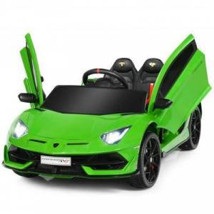 Costway 12 V Licensed Lamborghini SVJ RC Kids Ride On Car with Trunk and Music-Green