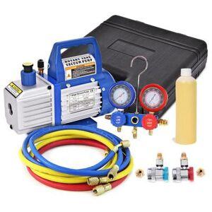 Costway 4CFM 1/3HP Air Vacuum Pump HVAC Refrigeration Kit AC Manifold Gauge Set R134