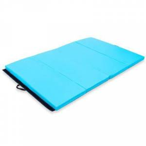 "Costway ""Costway 4' x 6' x 2"""" PU Thick Folding Panel Exercise Gymnastics Mat-Blue"""