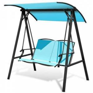 Costway Outdoor Porch Steel Hanging 2-Seat Swing Loveseat with Canopy-Turquoise