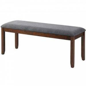 Costway Upholstered Entryway Bench Footstool with Wood Legs