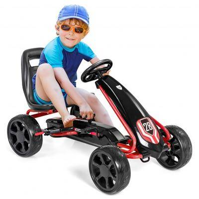 Costway Kids Ride On Toys Pedal Powered Go Kart Pedal Car-Black