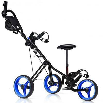 Costway Foldable 3 Wheels Push Pull Golf Trolley with Scoreboard Bag-Navy