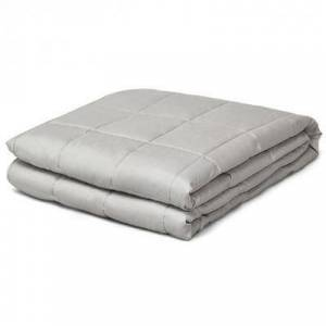 Costway 15 lbs Weighted Blankets with Glass Beads Light-Light Gray