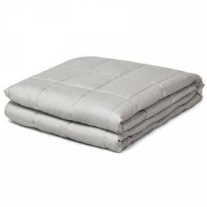 Costway 17 lbs Weighted 100% Cotton Blankets-Light Gray
