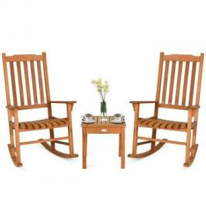 Costway 3 pcs Eucalyptus Rocking Chair Set with Coffee Table